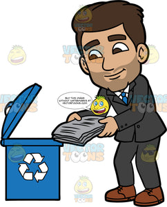 Gabriel Throwing Newspapers Into A Recycling Bin. A Hispanic man wearing a dark suit, blue tie, and brown shoes, throwing used newspapers into a blue bin with a recycling logo on it