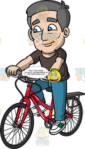 Bob Riding His Bicycle. An older man with gray hair, wearing blue jeans, a black t-shirt, and sneakers, riding a red bike on a nice day