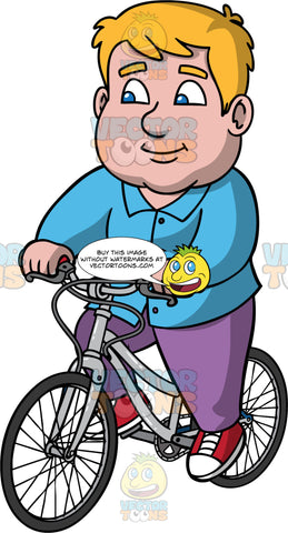 Sam Going For A Bike Ride. A chubby man wearing purple pants, a long sleeve button up blue shirt, and red and white sneakers, enjoying a casual bicycle ride