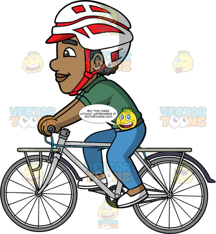 Jimmy Going For A Ride On His Bicycle. A black ma wearing a red and white bike helmet, blue jeans, a green shirt, and white slip on shoes, enjoying a day out riding his bike