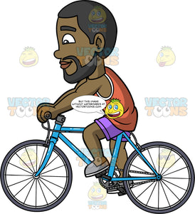 Calvin Cycling On His Blue Bike. A black man with a beard, wearing purple shorts, a coral tank top, and gray slip on shoes, going for a ride on his blue bicycle