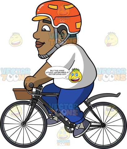 James Riding His Bike. A black man wearing an orange bike helmet, blue pants, a white t-shirt, and gray sneakers, riding around on a bicycle with a basket in the front