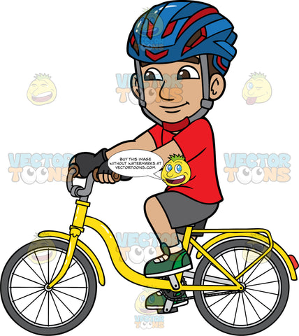 Gabriel Riding A Yellow Bike. A Hispanic man wearing a blue with red bike helmet, a red t-shirt, gray shorts, and green sneakers, cruising around on a bright yellow bicycle