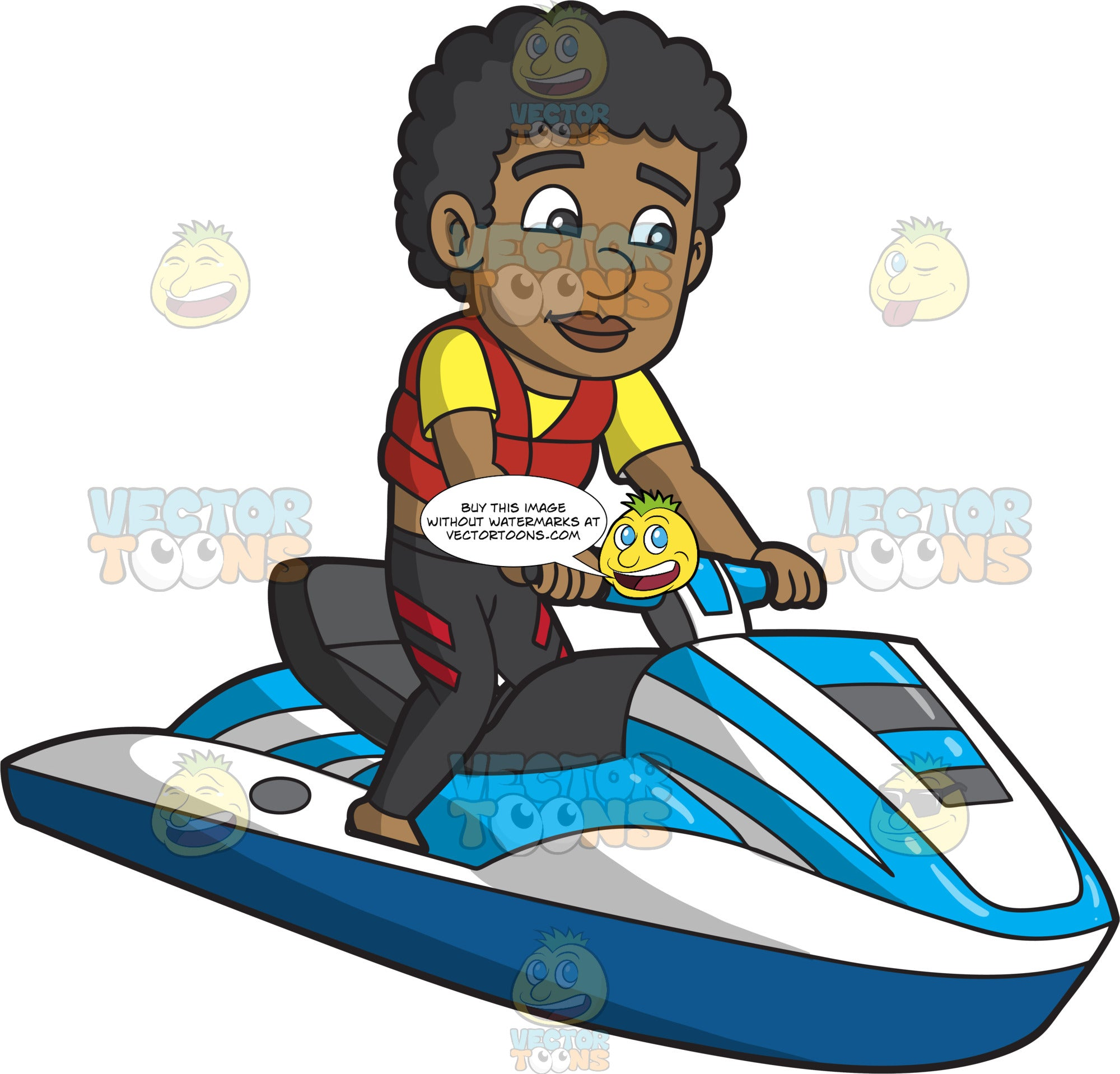 A Black Man Riding A Jet Ski
