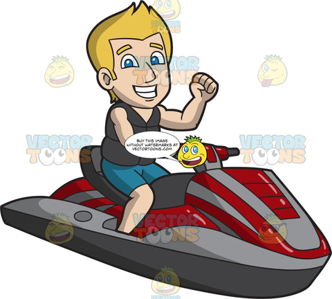 An Excited Man Riding A Jet Ski
