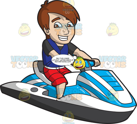 A Cheerful Guy Riding A Jet Ski