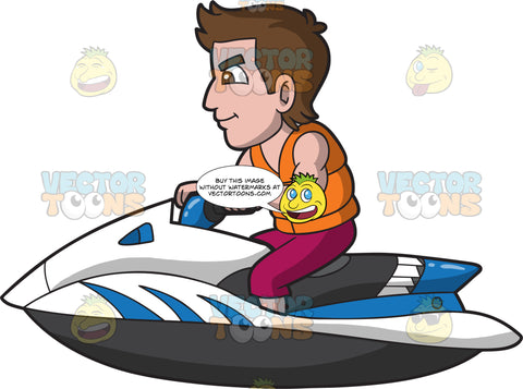 A Sleek Good Looking Man Riding A Jet Ski