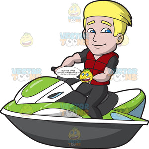 A Handsome Guy Riding A Jet Ski