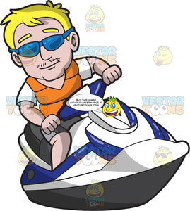 A Relaxed Guy Riding A Jet Ski