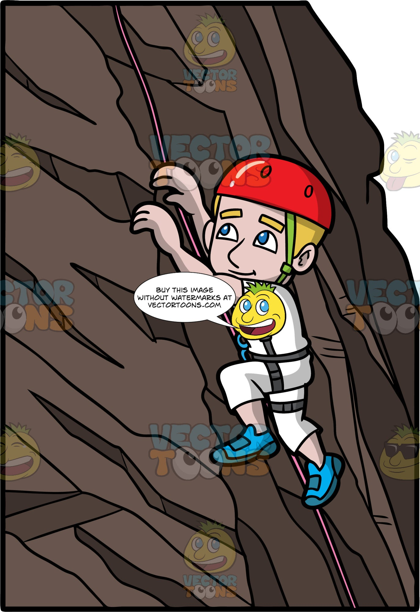 A Man Climbing Up A Rock Wall. A man with dark blonde hair and blue eyes, wearing white pants, a white shirt, blue rock climbing shoes, and a red helmet, is attached to pink rope which he uses to help him climb up a rock wall