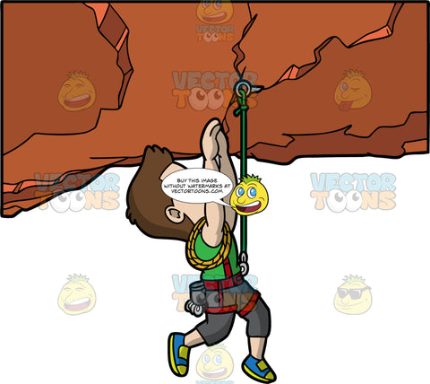 An Athletic Man Hanging From A Rock. A man with brown hair and eyes, wearing dark gray pants, a green shirt, and blue and yellow shoes, is harnessed into a red harness attached to a green rope hooked into the rocks, uses his upper body strength to hold himself up while hanging from a rock formation
