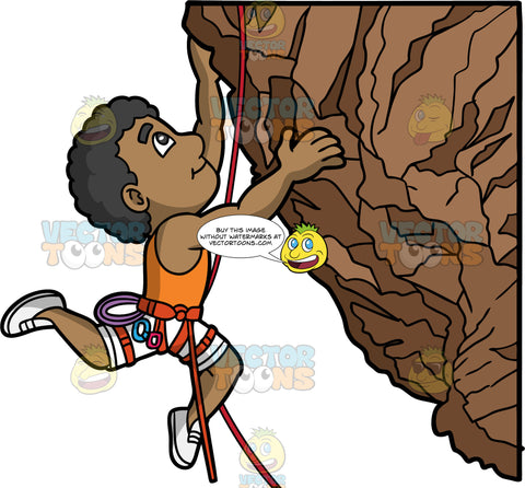 A Muscular Black Man Rock Climbing. A black man wearing white shorts, an orange tank top, white rock climbing shoes, and a red harness, pulling himself up natural rock fomation