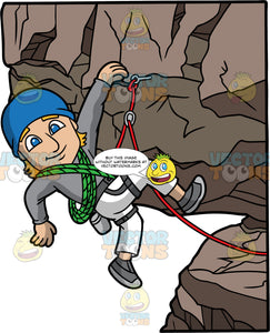 A Man Hanging Out While Rock Climbing. A man with dark blonde hair and blue eyes, wearing white pants, a gray shirt, gray rock climbing shoes, and a blue hat, is harnessed into a gray harness that is attached to a red rope hooked into a rock, holds onto a rock with one hand while pulling himself up a rock wall