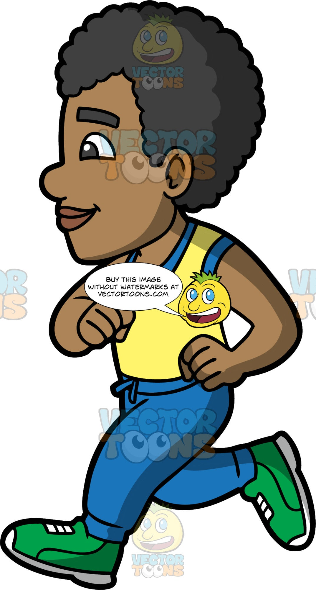 Jimmy Out For A Run. A black man wearing blue track pants, a yellow with blue tank top, and green running shoes, concentrating while going for a run