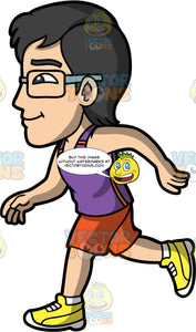 Simon Running For Exercise. An Asian man wearing orange shorts, a purple tank top, yellow running shoes, and eyeglasses, getting some exercise by going for a run