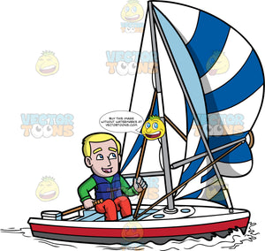 A Man Sailing A Boat. A man with blonde hair, wearing a green jacket, orange pants, blue life vest, smiles while maneuvering his white with red and dark gray boat, by moving the brown paddle stick in his right hand, and adjusting the rope of the white with blue sail in his left hand