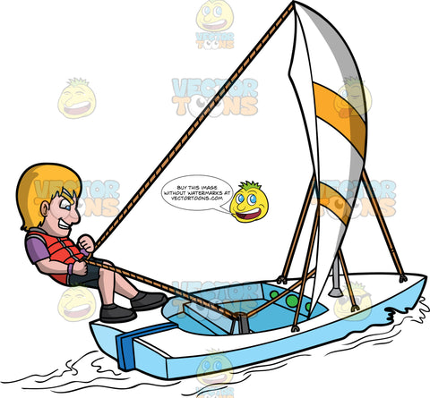 A Gritty Man Sailing The Sea. A man with blonde hair, wearing a purple shirt, orange vest, black shorts, shoes, grits his teeth while pulling the rope of the striped white and yellow sail, to control the movement of his white sailboat