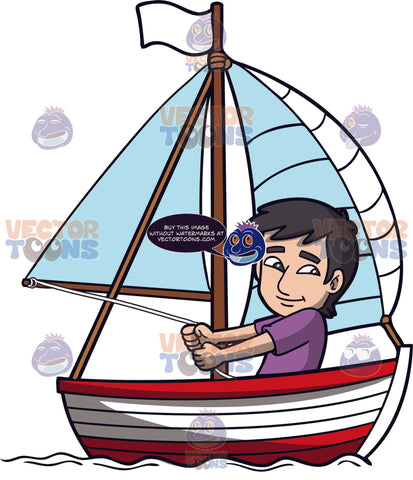 A Charming Man Sailing The Sea. A man with black hair wearing a purple shirt, sits and smiles while controlling the white sails of his red and white boat with a white flag