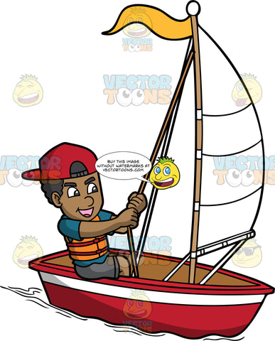 A Black Man Maneuvering His Sailboat. A black man with curly hair, wearing a red cap, teal shirt, orange life vest, gray shorts, smiles while tugging the rope to maneuver the white sail of his red and white sailboat with a yellow flag