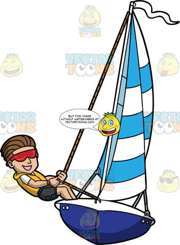 A Cool Guy Sailing The Sea. A man with sleek brown hair, wearing red sunglasses, yellow vest, white shirt, black shorts, smiles while holding on to the rope as he sails his blue with white boat, with a striped blue and white sail