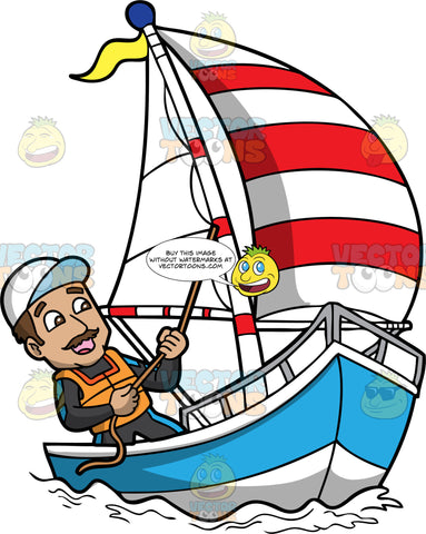 A Happy Man Sailing The Sea. A man with brown hair, mustache, wearing a black and teal wetsuit, white cap, orange life vest, smiles while tugging the rope of the white with red sails, as he maneuvers the direction of the blue and white sailboat that he is sailing