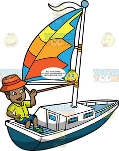 A Man Out For A Sail On A Summer Day. A black man with dark hair, wearing an orange hat, neon green polo shirt with buttons, blue shorts, white socks, green shoes, smiles while sailing his dark teal with white boat, that has a colorful blue, yellow and two tone orange sail with a white flag
