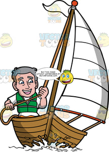 An Old Man Having Fun Sailing His Boat. An old man with gray hair, wearing a white shirt, yellow shorts, smiles while maneuvering the white sail of his wooden boat by tugging the rope to control the direction of the sailboat