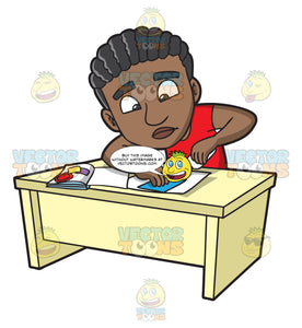 A Black Guy Concentrating On Gluing A Scrapbook Page