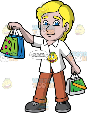 A Blonde Man Holding Up Some Shopping Bags. A man with blonde hair and blue eyes, wearing brown pants, a white shirt, and dark gray shoes, holding up two shopping bags in one hand, and two more shopping bags in his other hand that is down by his side