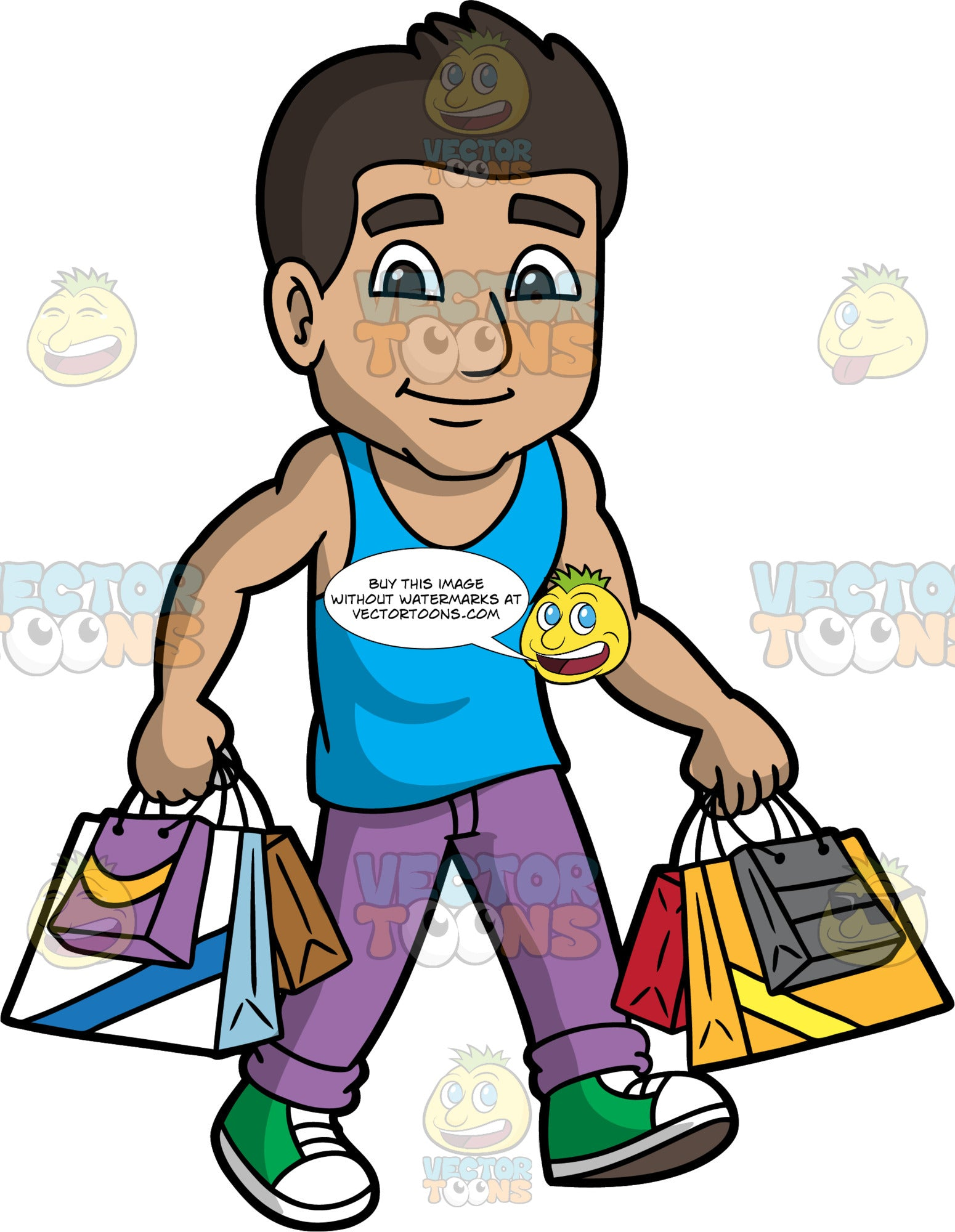 A Man Walking With His Purchased Goods. A muscular man with dark brown hair, wearing purple pants, a blue tank top, and green and white sneakers, walks while carrying several shopping bags
