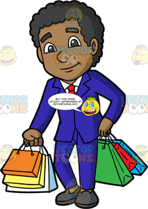 A Stylish Black Man Happy With His Purchases. A black man wearing a blue suit, white shirt, red tie, and gray shoes, holding three shopping bags in one hand, and three in the other