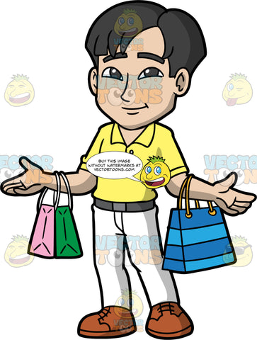 An Asian Man Shopping For Clothes. An Asian man with black hair, wearing white pants, a gray belt, a yellow golf shirt, and brown shoes, carrying one shopping bag over one arm, and two over the other