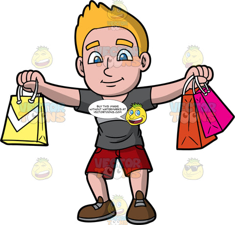 A Man Happy With The Purchases He Just Made. A man with dark blonde hair and blue eyes, wearing red shorts, a gray t-shirt, and brown shoes, holds his arms out to the sides, and holds one bag in the one hand, and two in the other