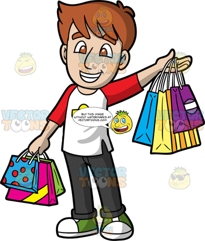 A Happy Guy Out Shopping. A man with brown hair and eyes, wearing black jeans, a red and white shirt with red sleeves, and green and white sneakers, holds up several shopping bags in one hand, while holding the arm down by his side, also with several shopping bags in that hand