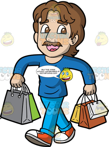 A Happy Man Out For A Day Of Shopping. A man with brown hair and a mustache, wearing light blue pants, a long sleeve blue shirt, and red and white sneakers, walking and smiling while holding several shopping bags in each hand