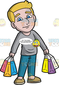 A Man Taking A Break From Shopping. A man with dark blonde hair and blue eyes, wearing blue jeans, a long sleeve gray shirt, and beige shoes, holding several shopping bags in each hand