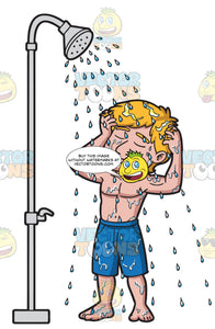 A Man Scrubbing His Head In The Shower
