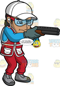 A Man Pointing His Shotgun At A Clay Target. A man wearing red pants, a red vest over a long sleeve blue shirt, gray shoes, gray gloves, a white hat, earplugs, and safety glasses, pointing his shotgun at a clay target