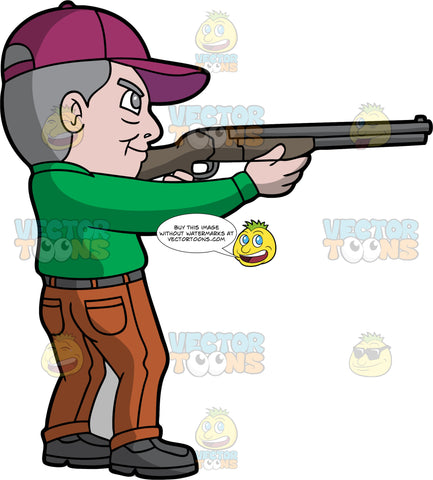 An Old Man Skeet Shooting. An older man with gray hair, wearing brown pants, a long sleeve green shirt, gray shoes, and a purple hat, holds a shotgun and aims it at a clay target