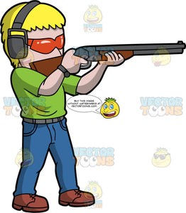 A Blonde Man Skeet Shotting. A man with blonde hair, wearing blue jeans, a green shirt, brown shoes, ear protection, and orange safety glasses, points his shotgun and aims at a clay target