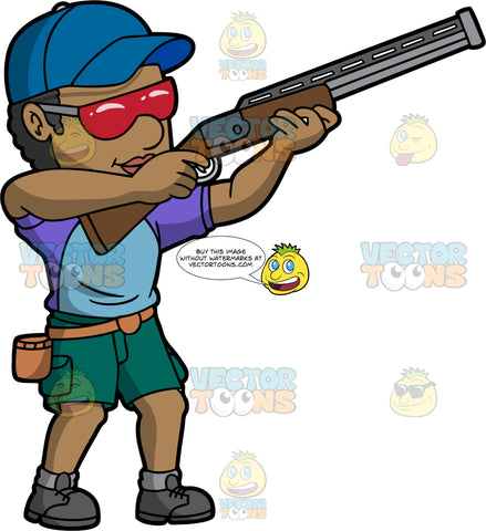 A Black Man Holding A Shotgun Getting Ready To Shoot A Clay Target. A black man wearing green shorts, a blue and purple shirt, dark gray shoes, a blue hat, and red safety glasses, holding up a shotgun as he prepares to shoot a clay pigeon