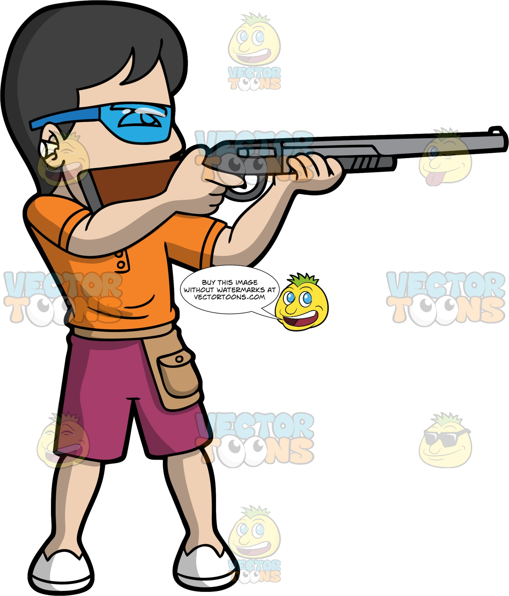 A Man Skeet Shooting. A man with black hair, wearing burgundy shorts, an orange shirt, white shoes, earplugs, and blue safety glasses, holds a shotgun in his hands and gets ready to fire at the clay target