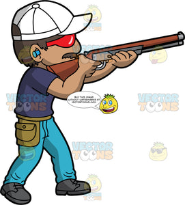 A Man Shooting A Shotgun At A Clay Pigeon . A man wearing light blue pants, a dark blue shirt, gray shoes, white hat, earplugs, and red safety glasses, holds his shotgun and shoots at a clay target