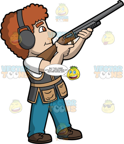 A Man Having Fun Skeet Shooting. A man with curly brown hair, wearing blue jeans, a gray and brown vest over a white t-shirt, brown shoes, and ear protection, holds a shotgun and points it up and aims at a clay target