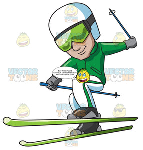 A Male Freestyle Skier Having Fun
