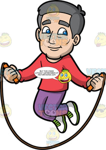 Bob Using A Skipping Rope. A mature man with gray hair wearing purple pants, a long sleeve red shirt, and white with green running shoes, jumping over a skipping rope