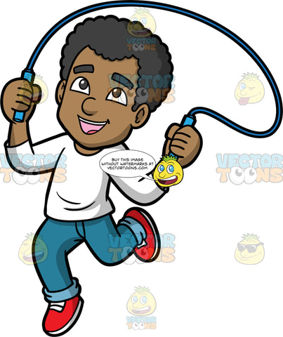 Jimmy Playing With A Skipping Rope. A black man wearing blue jeans, a long sleeve white shirt, and red running shoes, smiles as jumps rope