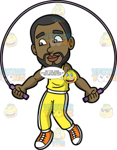 Calvin Jumping Rope. A black man with a beard wearing yellow track pants, a yellow tank top, and orange sneakers jumping over a skipping rope
