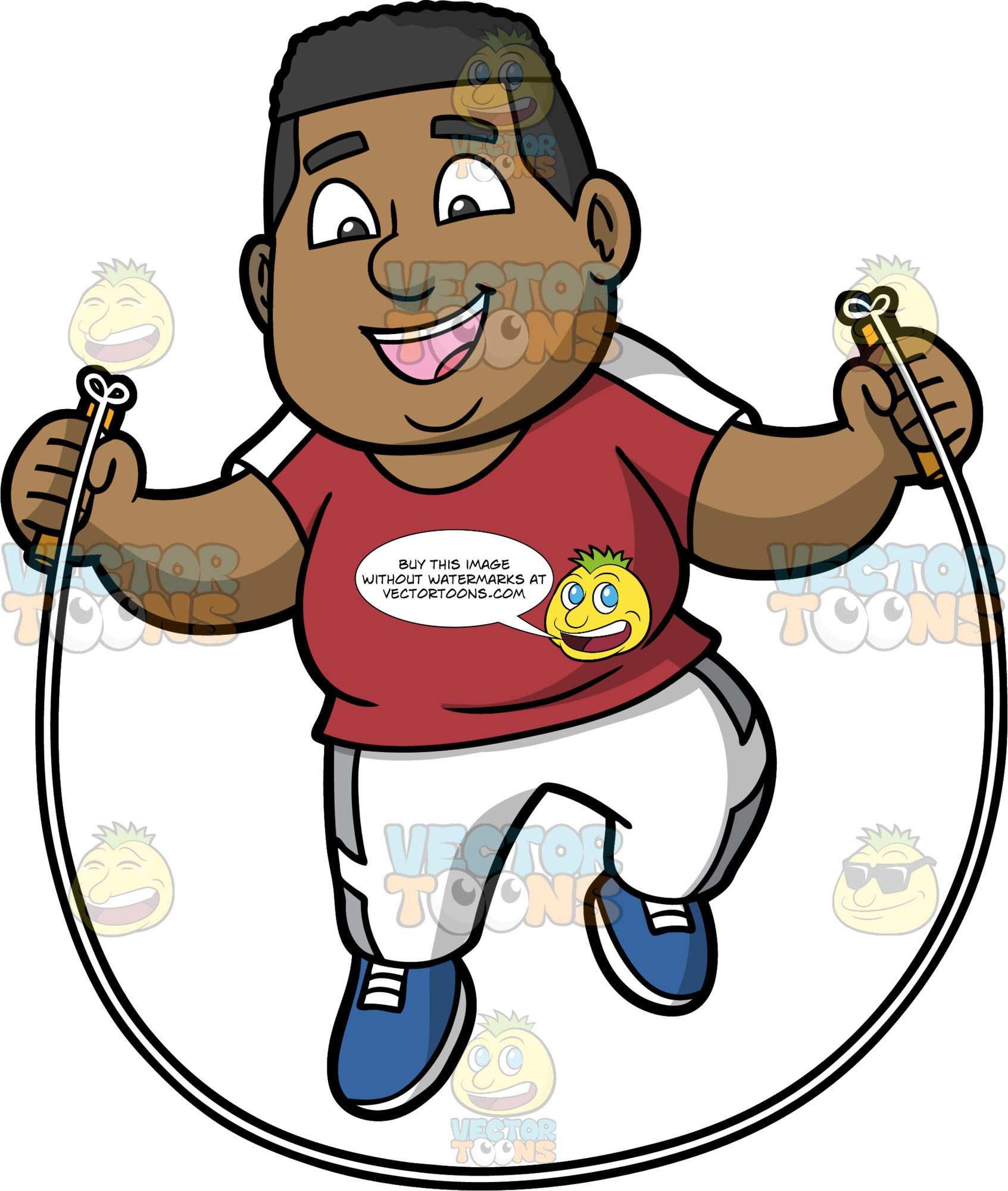 James Having Fun Skipping. A black man wearing white track pants, a burgundy with white t-shirt, and blue running shoes, smiling as he jumps over a skipping rope