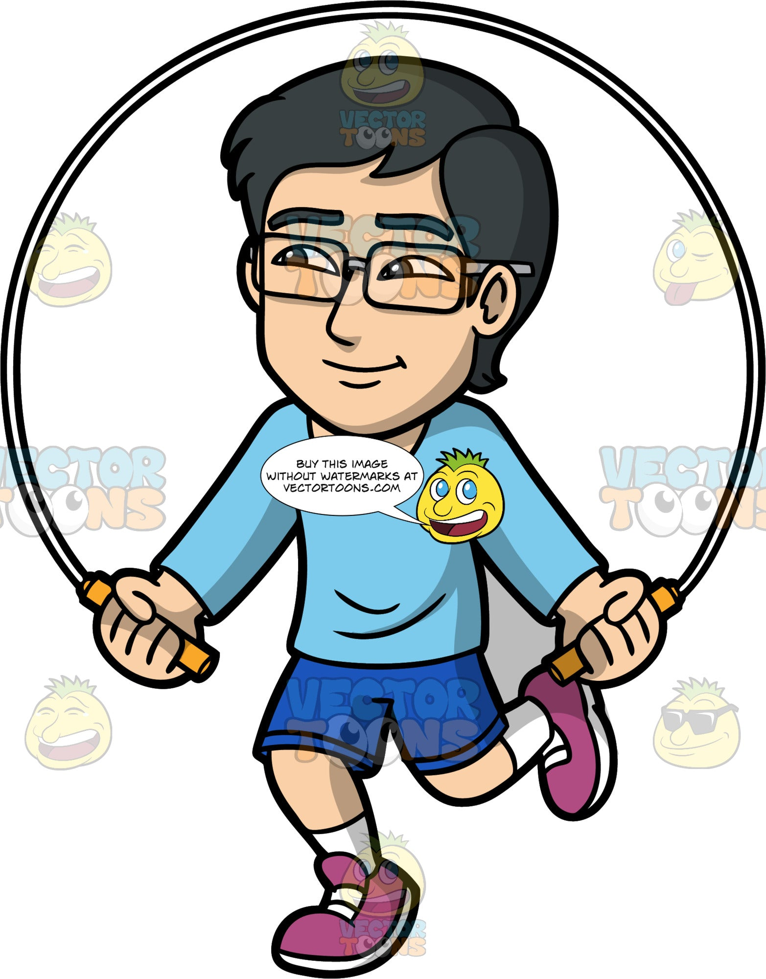 Simon Using A Skipping Rope. An Asian man wearing dark blue shorts, a long sleeve light blue shirt, purple running shoes, and eyeglasses, having fun jumping rope
